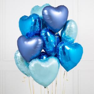 Набор из одиннадцати sky blue Сердец.