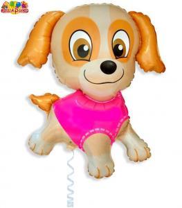 Воздушный шар с гелием  Девочка щенок.