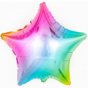 Воздушный шар Звезда Радуга, нежный.