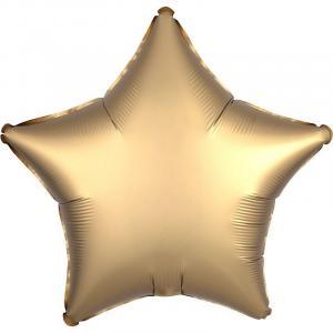 Воздушный шар Звезда Золото Сатин.