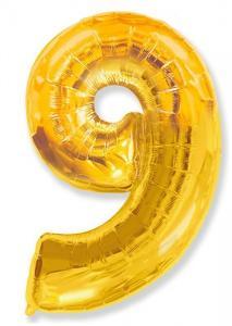 Воздушный шар c гелием Цифра 9 золотая.
