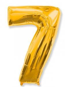 Воздушный шар c гелием Цифра 7 золотая.