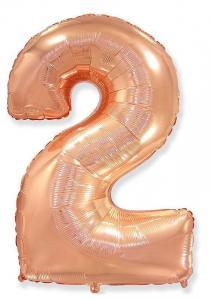 Воздушный шар c гелием Цифра 2 Роза Голд.