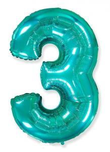 Воздушный шар c гелием Цифра 3 Тиффани.