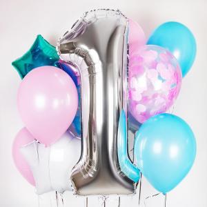 Букет из воздушных шаров Star birthday с цифрой.