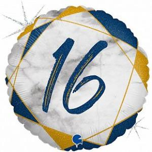 Воздушный шар c гелием Цифра 16 Мрамор Синий.